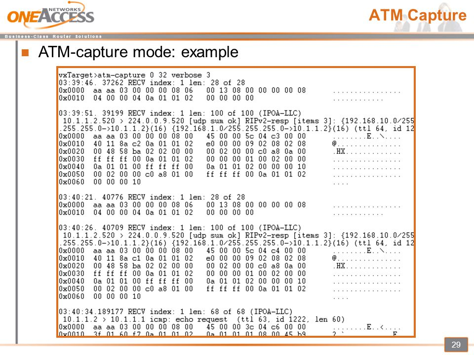 ATM-capture mode: example