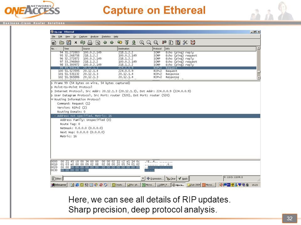 Capture on Ethereal Here, we can see all details of RIP updates.
