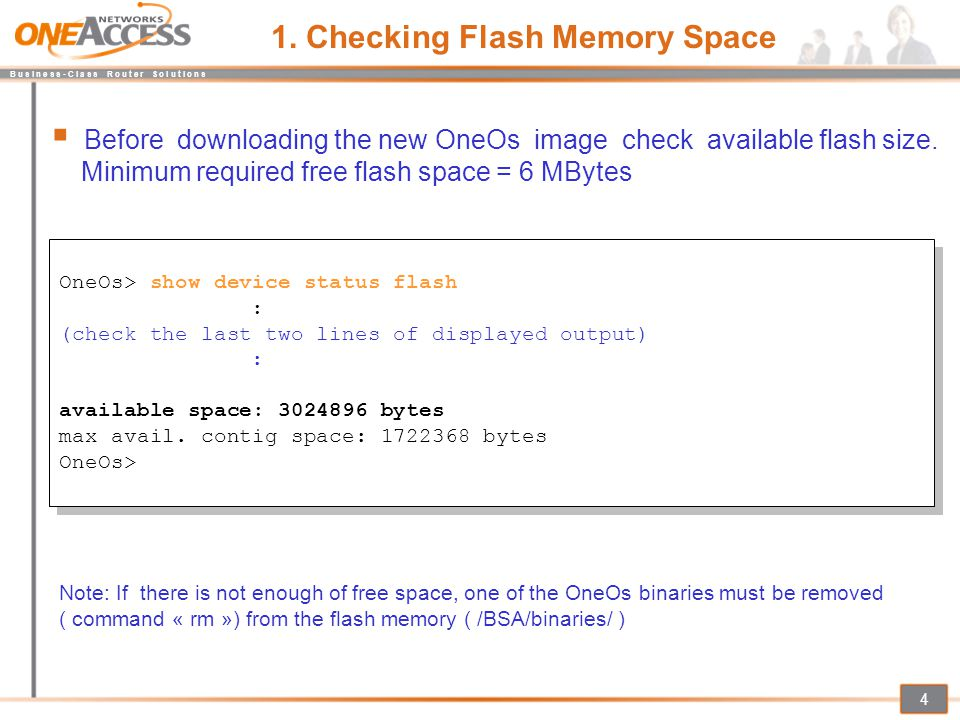 1. Checking Flash Memory Space