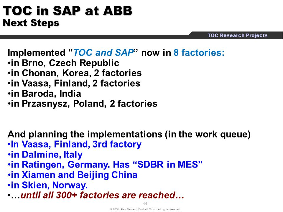 TOC in SAP at ABB Next Steps