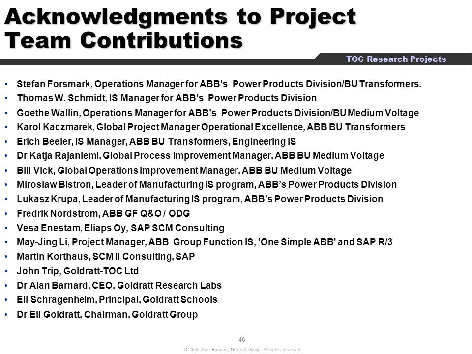 Acknowledgments to Project Team Contributions