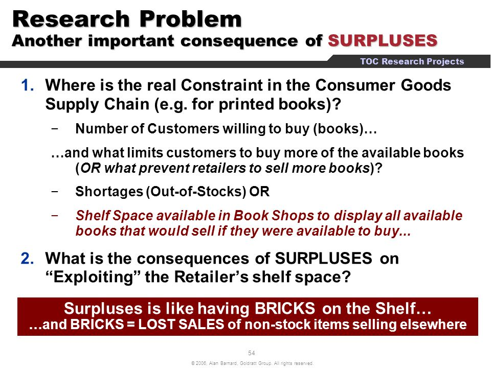 Research Problem Another important consequence of SURPLUSES