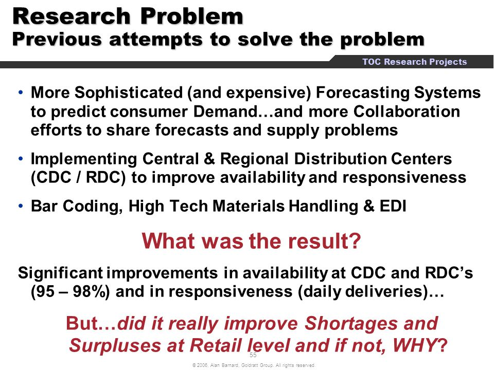 Research Problem Previous attempts to solve the problem