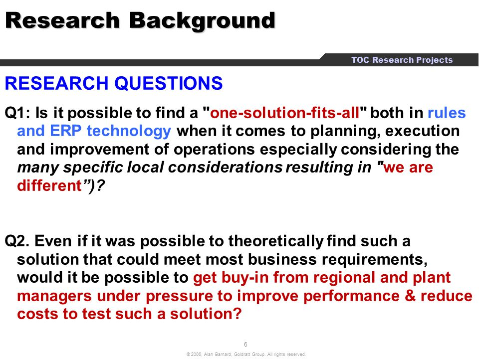 Research Background RESEARCH QUESTIONS