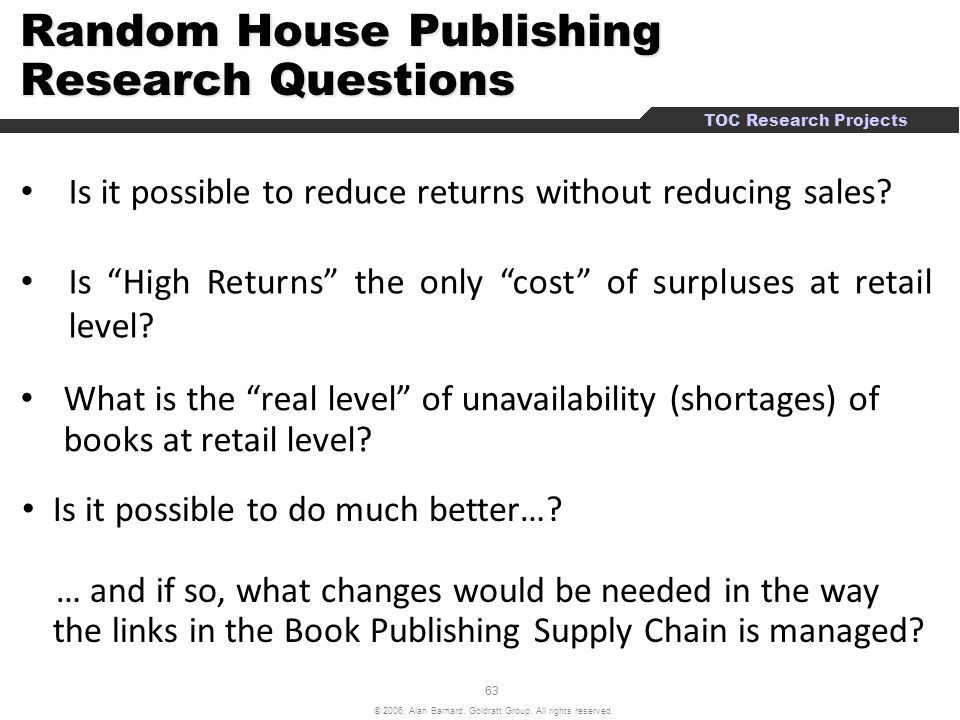 Random House Publishing Research Questions