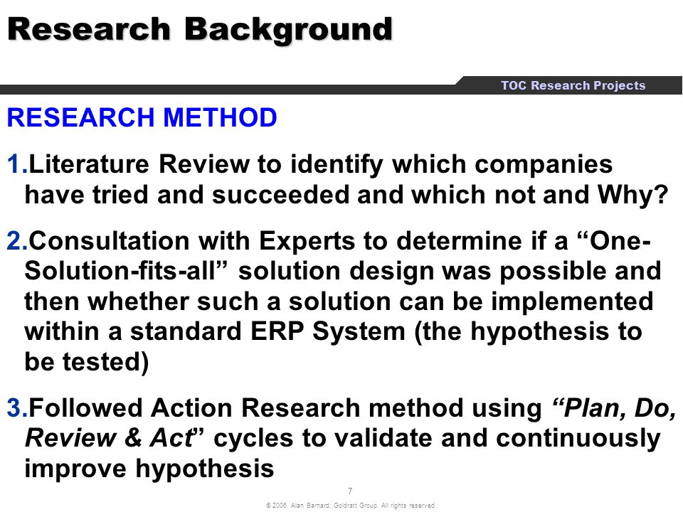example of research background