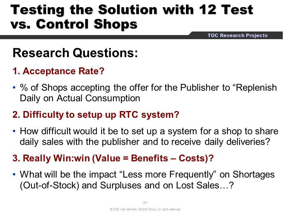 Testing the Solution with 12 Test vs. Control Shops
