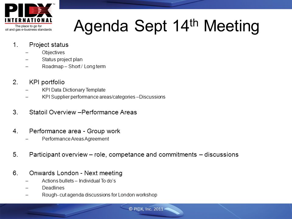 Agenda Sept 14th Meeting Project status KPI portfolio