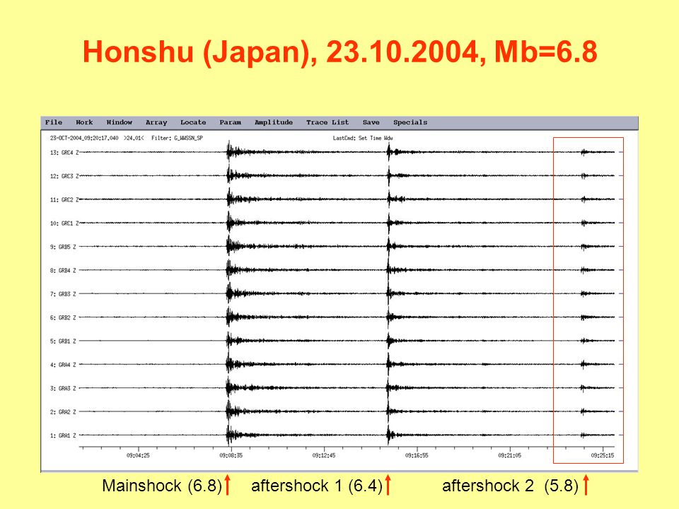 Honshu (Japan), 23.10.2004, Mb=6.8 Mainshock (6.8) aftershock 1 (6.4)