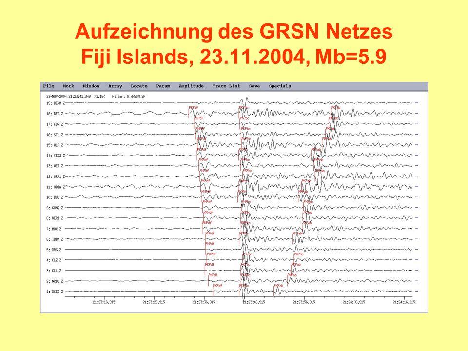 Aufzeichnung des GRSN Netzes Fiji Islands, 23.11.2004, Mb=5.9