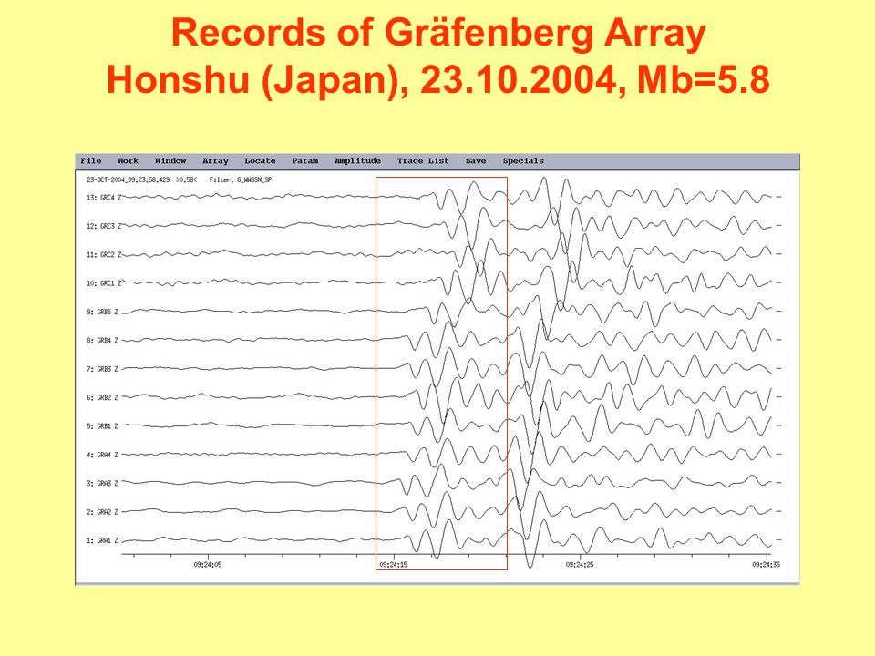 Records of Gräfenberg Array Honshu (Japan), 23.10.2004, Mb=5.8