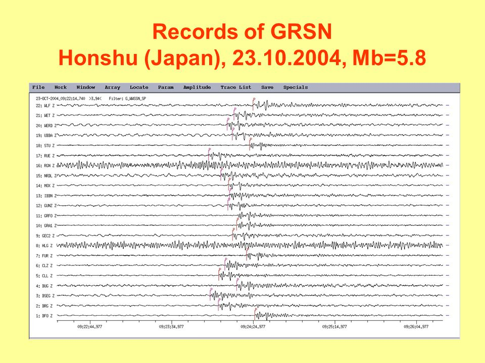 Records of GRSN Honshu (Japan), 23.10.2004, Mb=5.8
