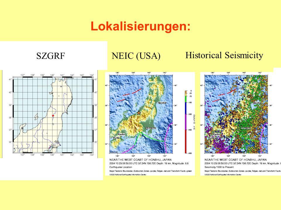 Lokalisierungen: SZGRF NEIC (USA) Historical Seismicity