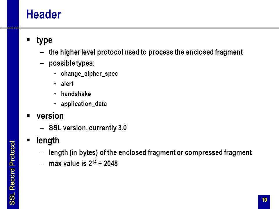 Header type version length