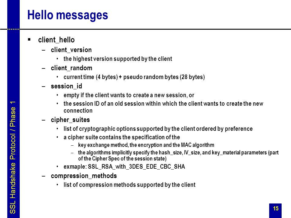 Hello messages client_hello client_version client_random session_id