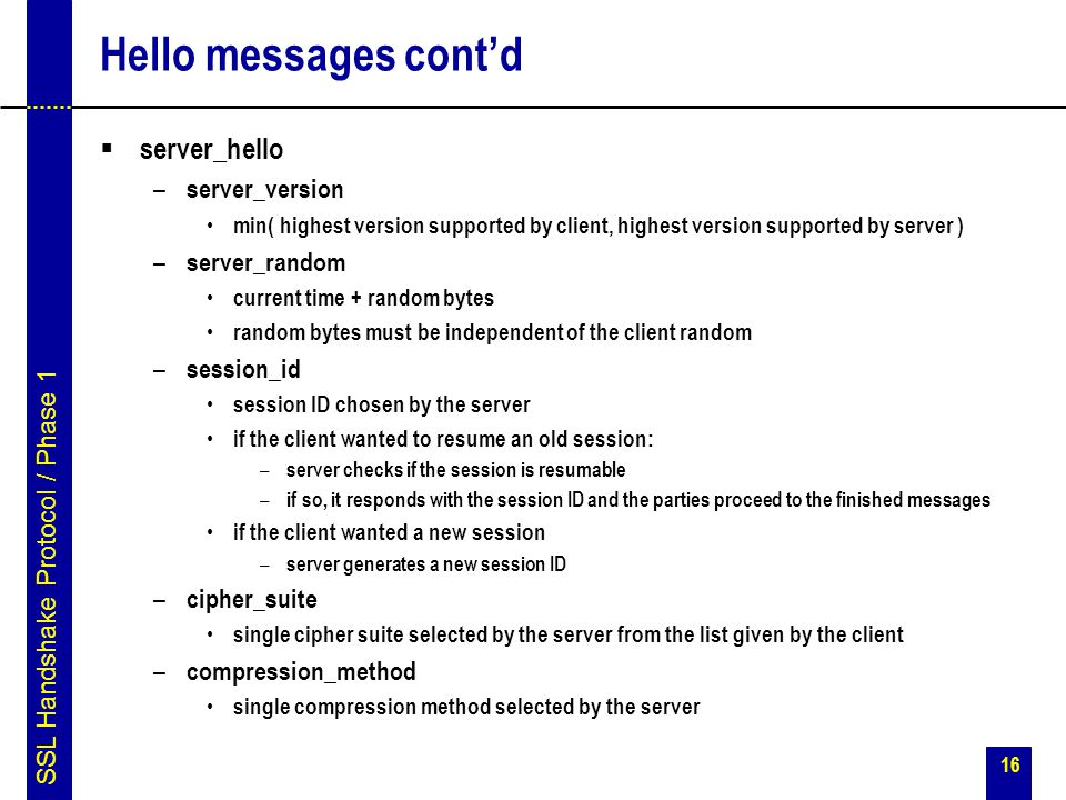 Hello messages cont'd server_hello server_version server_random