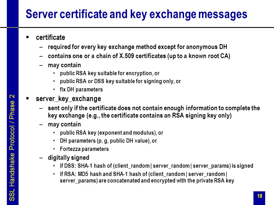 Server certificate and key exchange messages