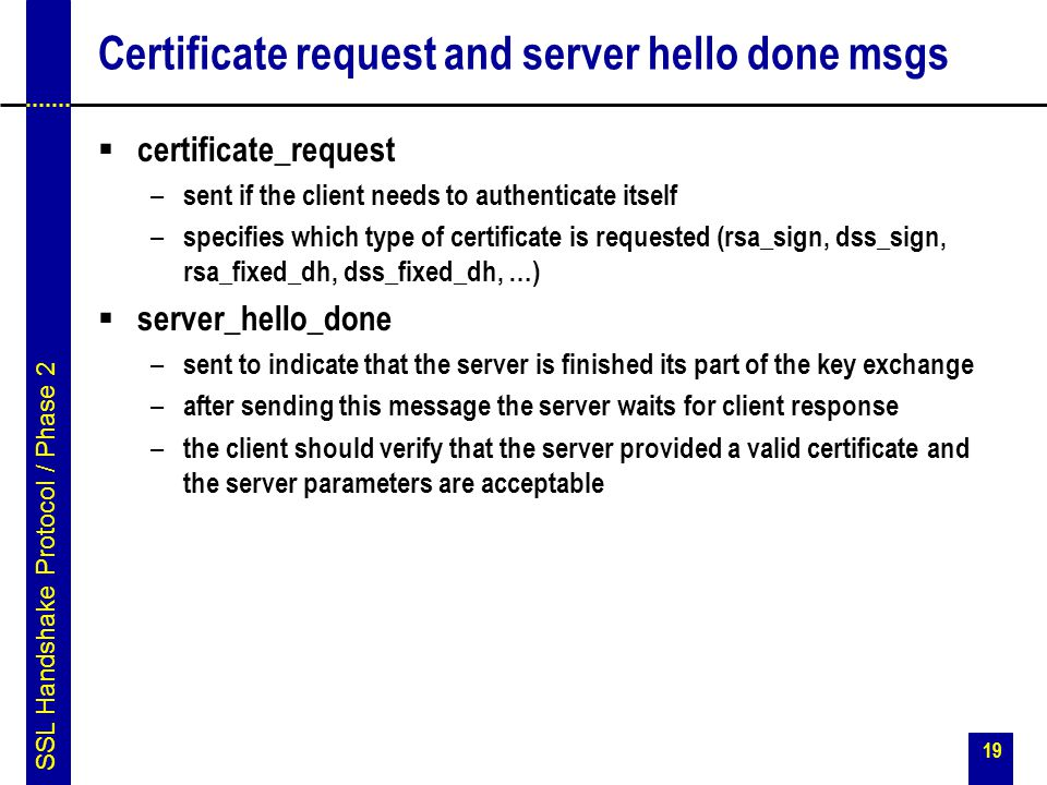 Certificate request and server hello done msgs