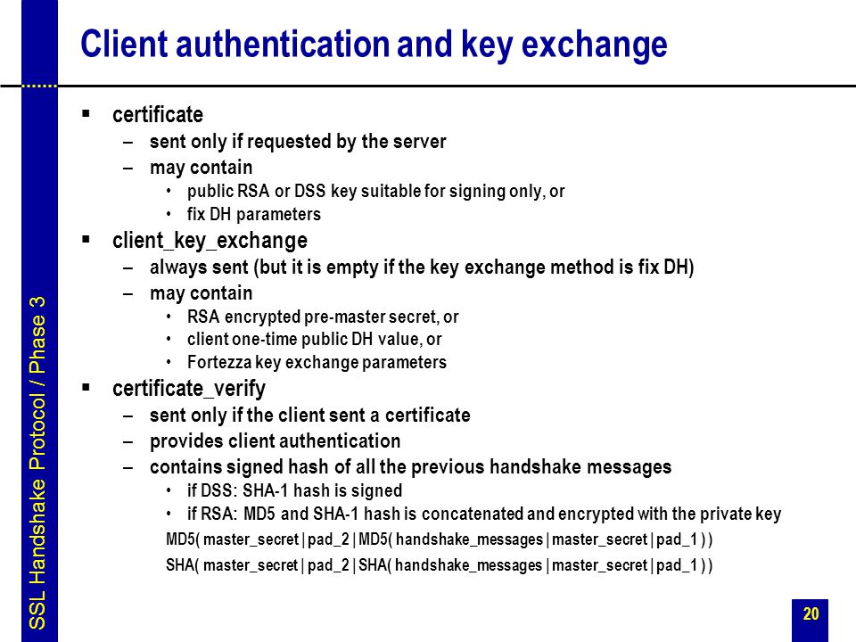 Client authentication and key exchange