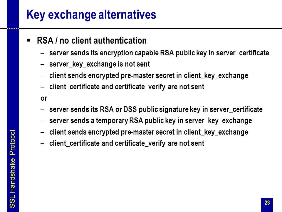 Key exchange alternatives