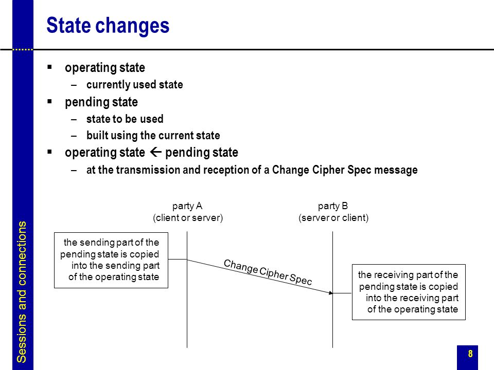 State changes operating state pending state
