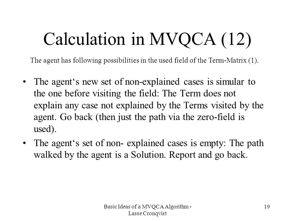 Calculation in MVQCA (12)