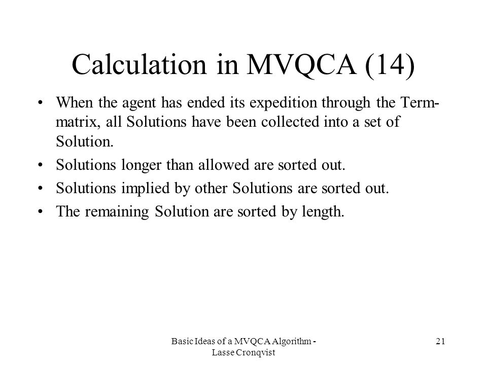 Calculation in MVQCA (14)