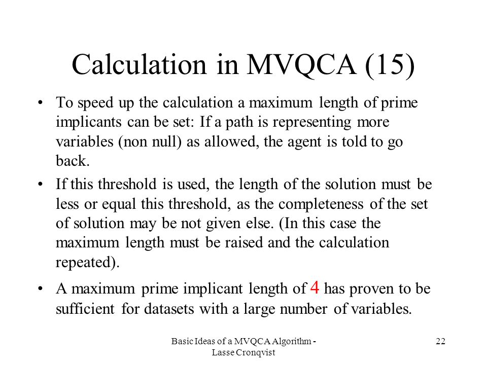Calculation in MVQCA (15)