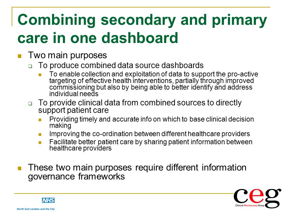 Combining secondary and primary care in one dashboard