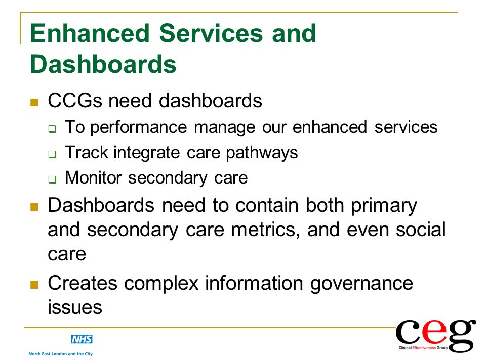 Enhanced Services and Dashboards