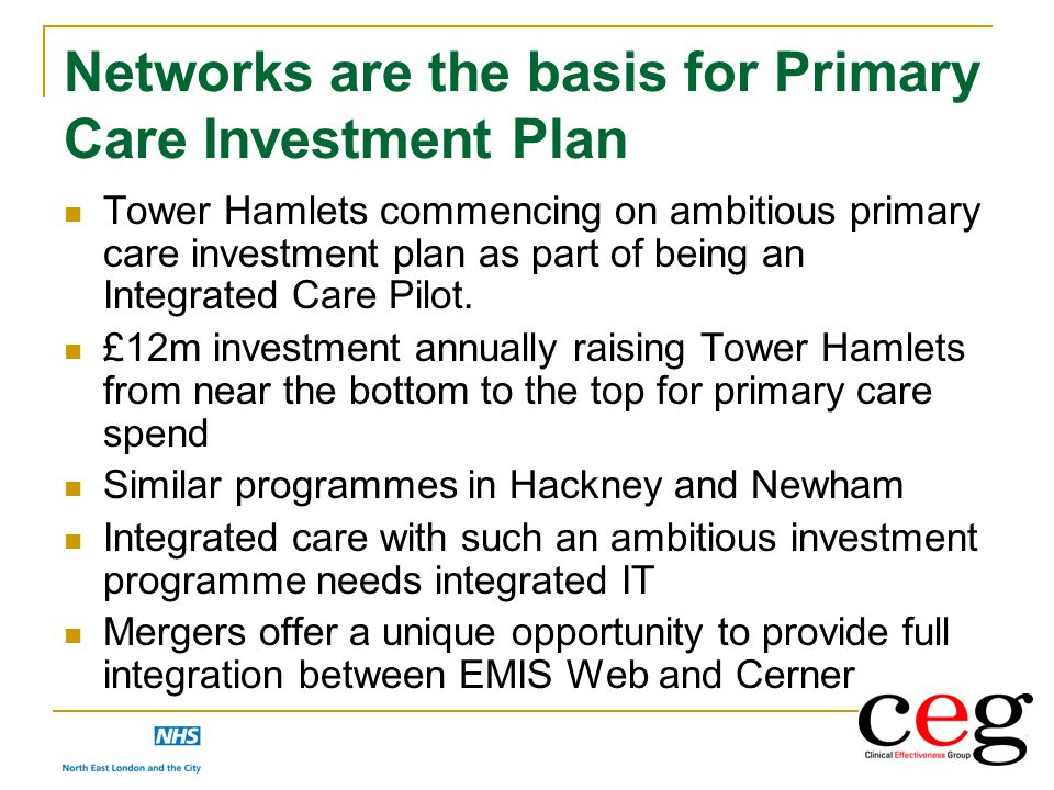Networks are the basis for Primary Care Investment Plan