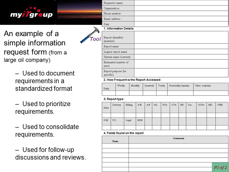 An example of a simple information request form (from a
