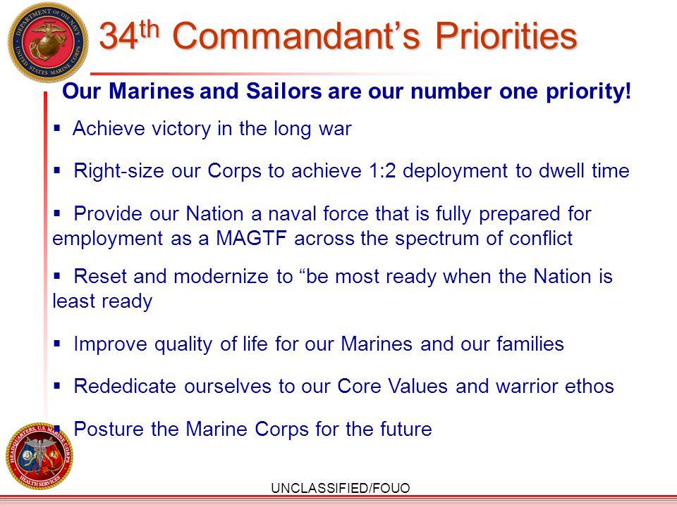 34th Commandant's Priorities
