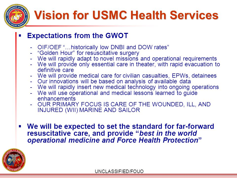 Vision for USMC Health Services