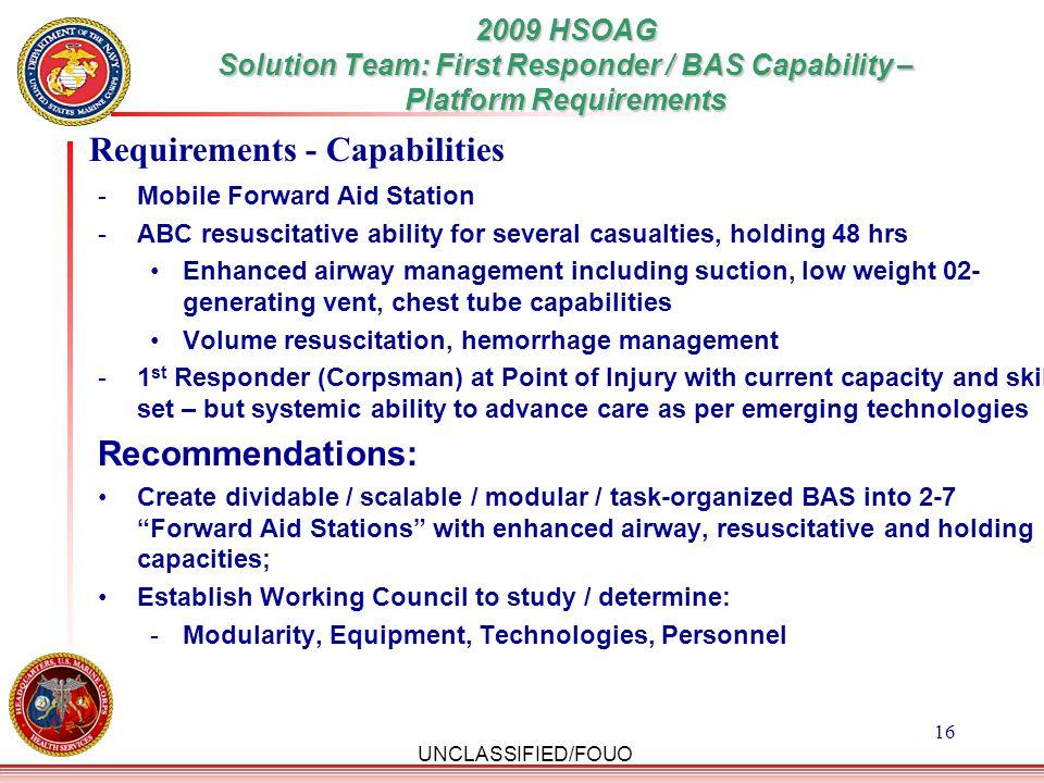 Requirements - Capabilities