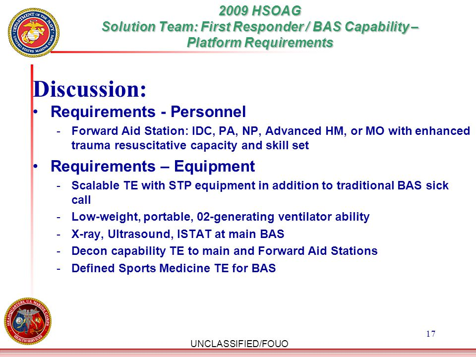 Discussion: Requirements - Personnel Requirements – Equipment