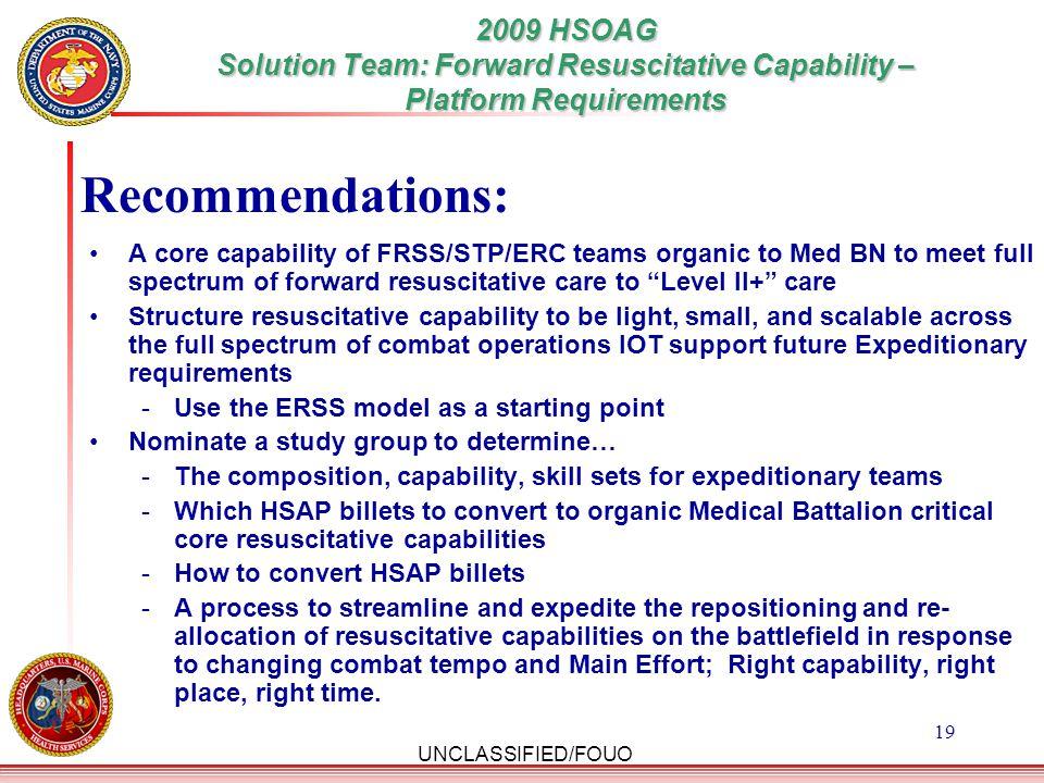 2009 HSOAG Solution Team: Forward Resuscitative Capability –Platform Requirements
