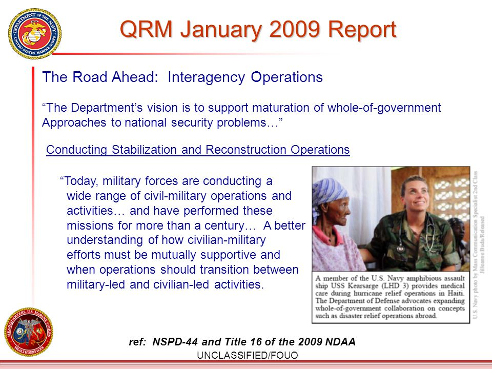 QRM January 2009 Report The Road Ahead: Interagency Operations