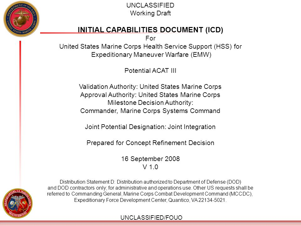 INITIAL CAPABILITIES DOCUMENT (ICD)