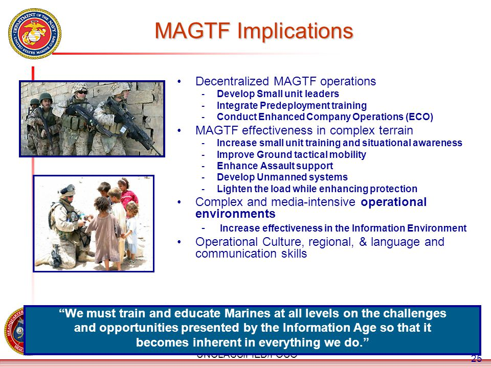 MAGTF Implications Decentralized MAGTF operations
