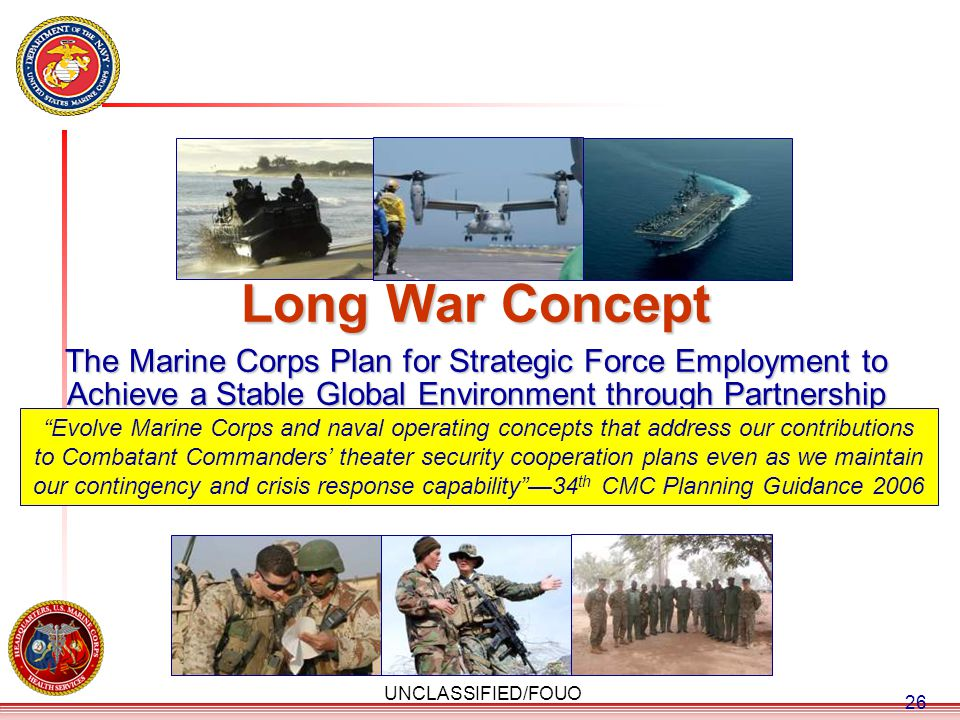 Long War Concept The Marine Corps Plan for Strategic Force Employment to Achieve a Stable Global Environment through Partnership