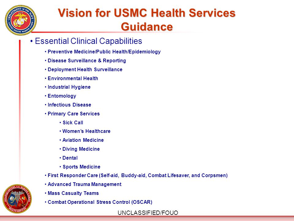 Vision for USMC Health Services Guidance