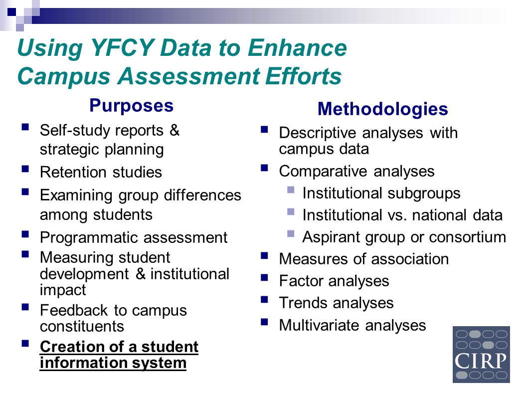 Using YFCY Data to Enhance Campus Assessment Efforts