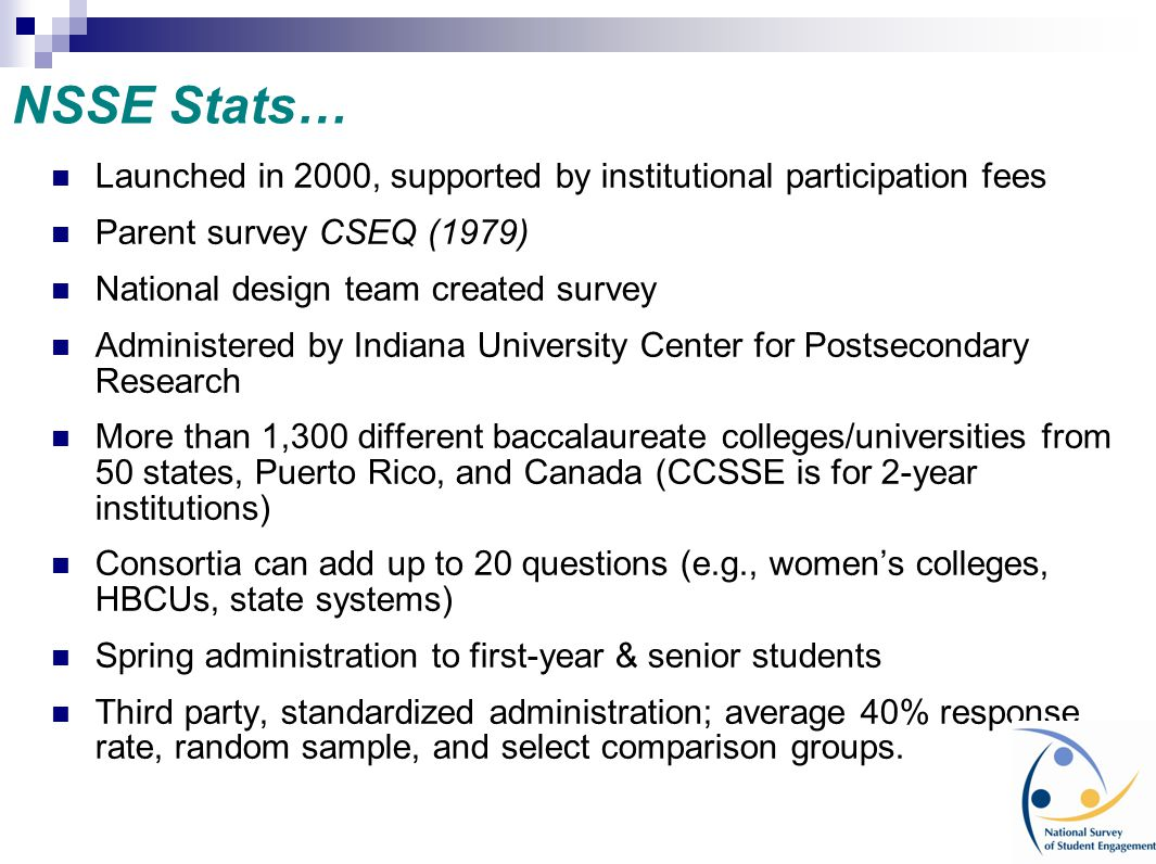NSSE Stats… Launched in 2000, supported by institutional participation fees. Parent survey CSEQ (1979)