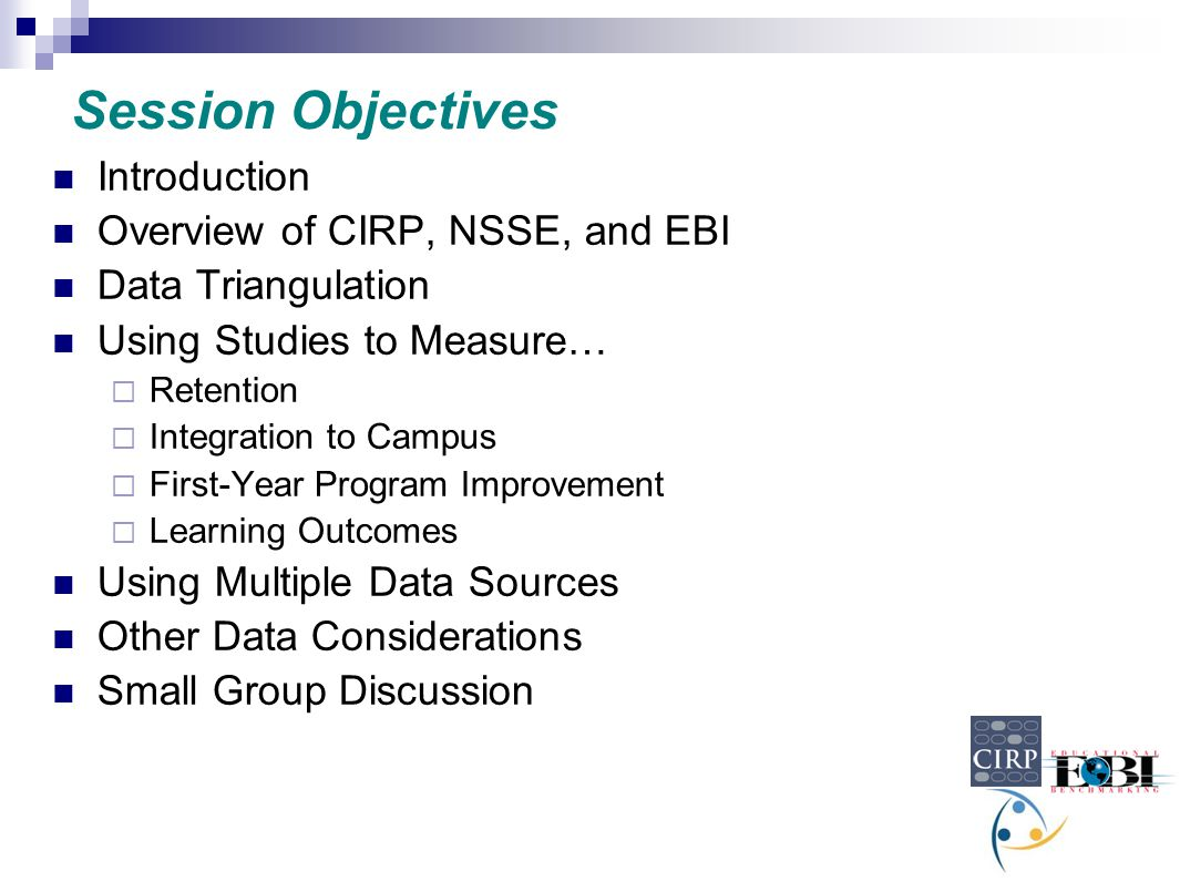 Session Objectives Introduction Overview of CIRP, NSSE, and EBI