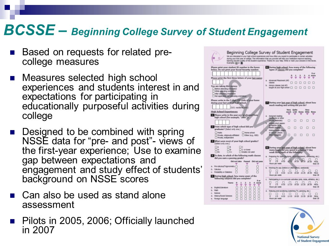 BCSSE – Beginning College Survey of Student Engagement