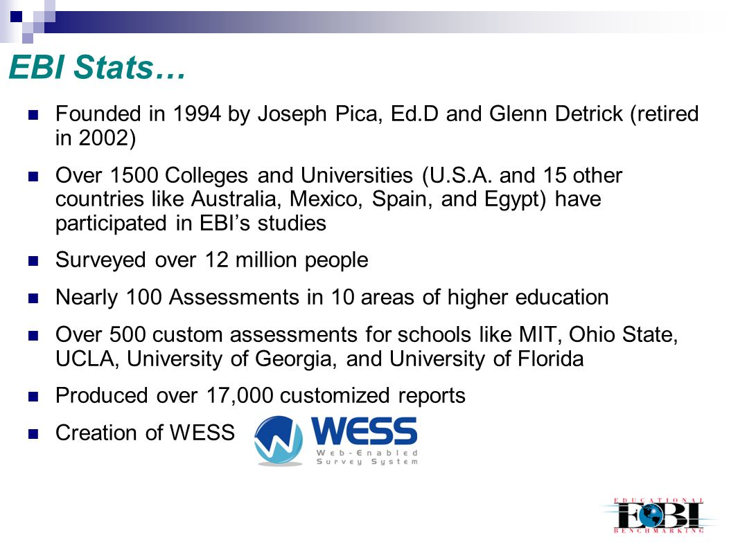 EBI Stats… Founded in 1994 by Joseph Pica, Ed.D and Glenn Detrick (retired in 2002)