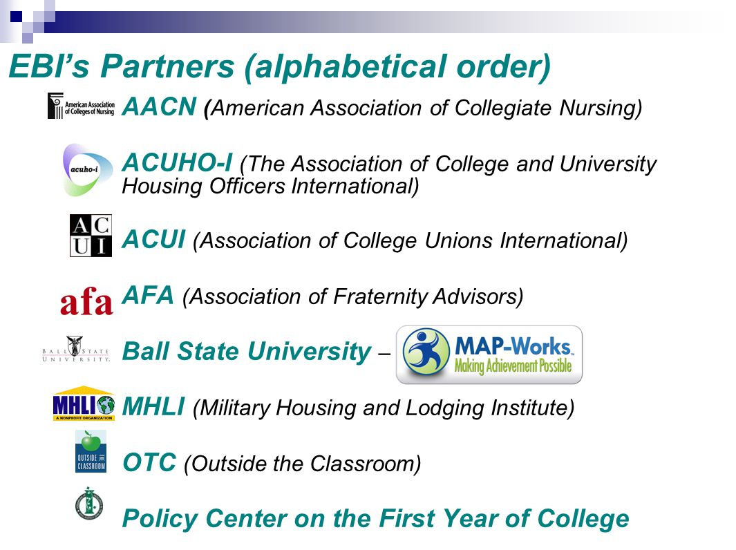 EBI's Partners (alphabetical order)
