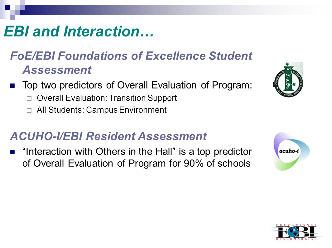 EBI and Interaction… FoE/EBI Foundations of Excellence Student Assessment. Top two predictors of Overall Evaluation of Program: