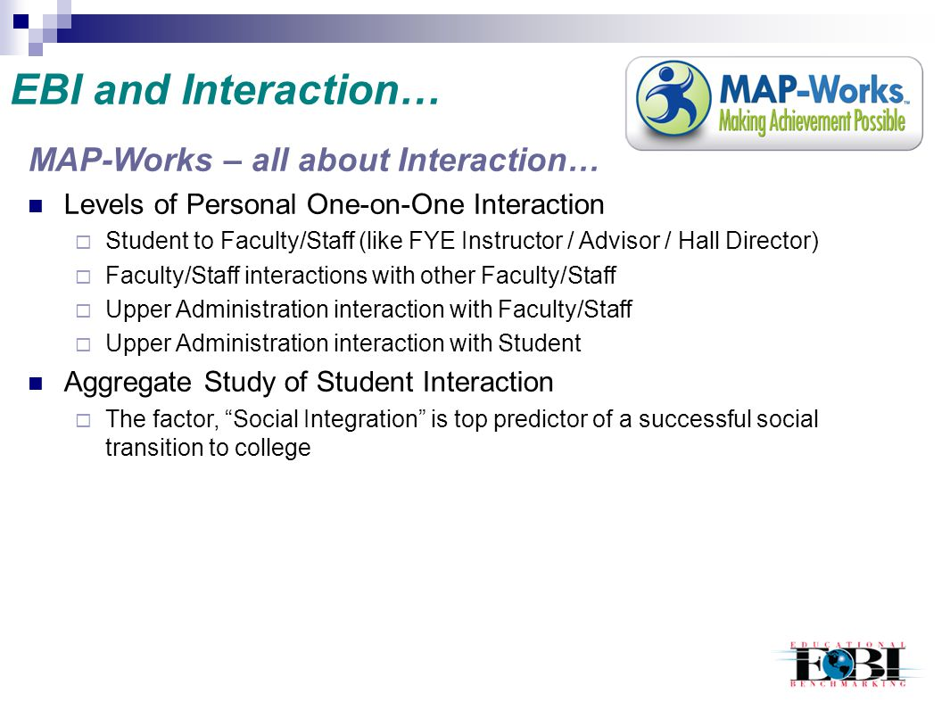 EBI and Interaction… MAP-Works – all about Interaction…